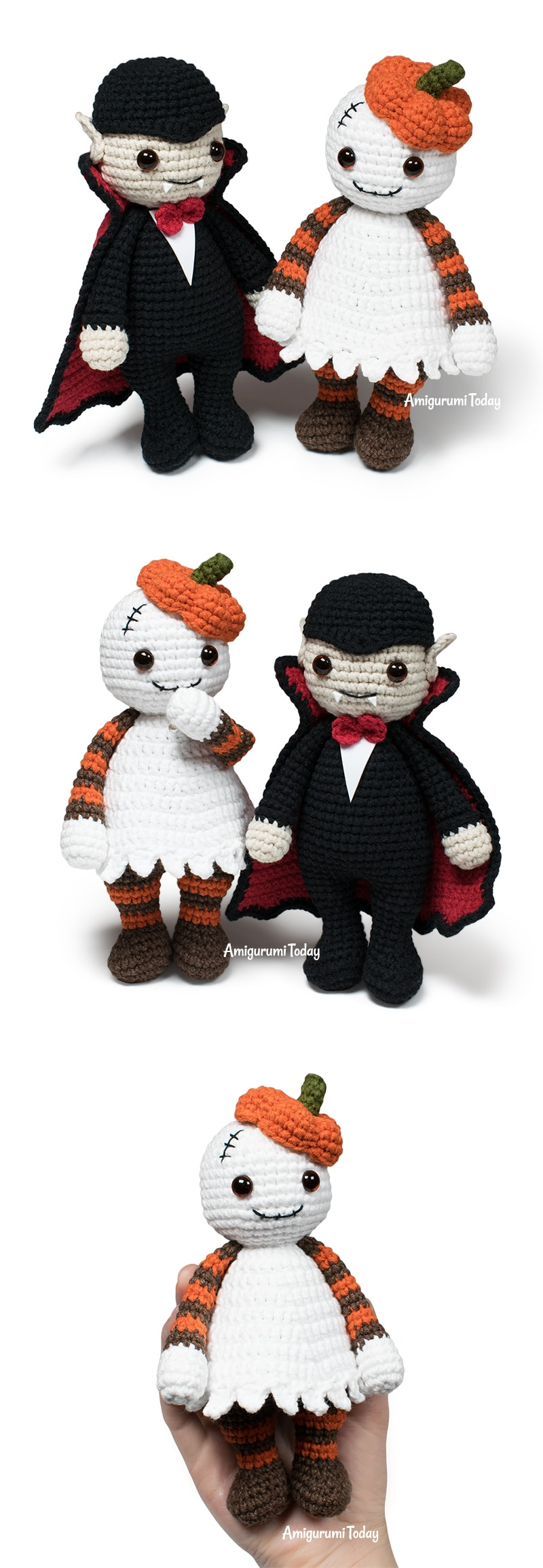 Amigurumi ghost & vampire - Free Halloween crochet patterns by Amigurumi Today