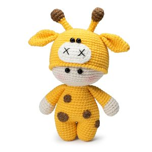 Free amigurumi doll in giraffe outfit crochet pattern by Amigurumi Today